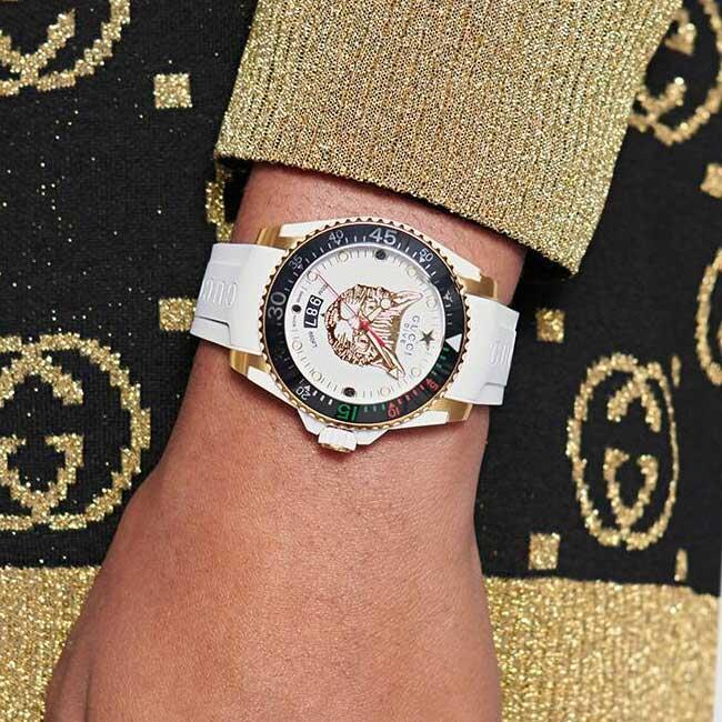 Đồng hồ Gucci Dive màu trắng, 40mm