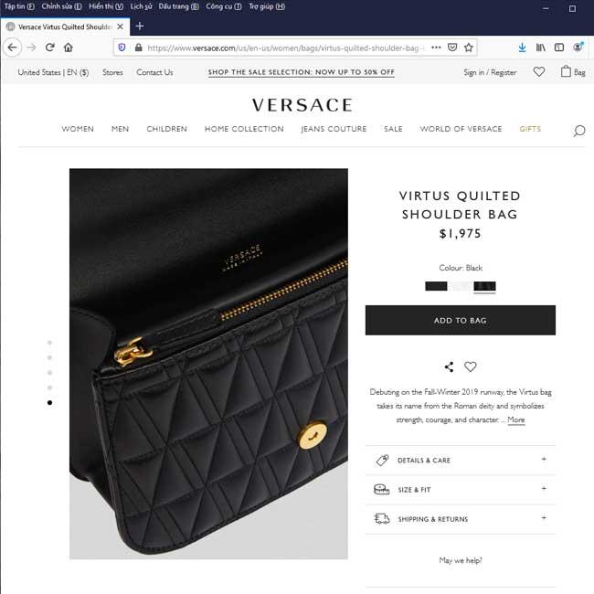 Giao diện trang web chính thức của Versace tại thị trường Mỹ