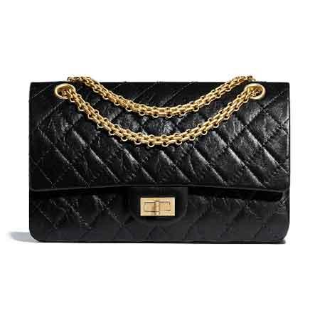 Túi Chanel 2.55 Da bê, khóa kim loại tông vàng Đen size 16 × 24 × 7,5 cm