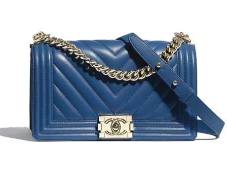 Túi xách Chanel Boy da bê màu xanh