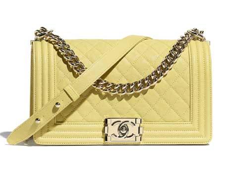 Túi xách Chanel Boy da bê sần màu vàng