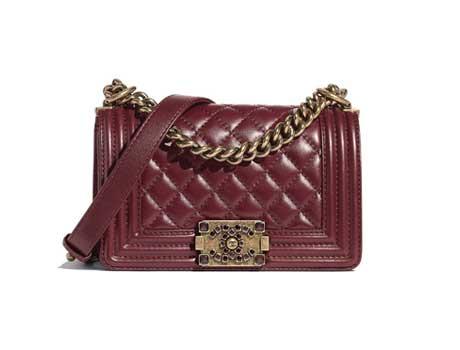 Túi xách Chanel Boy Size nhỏ da bê màu đỏ tía
