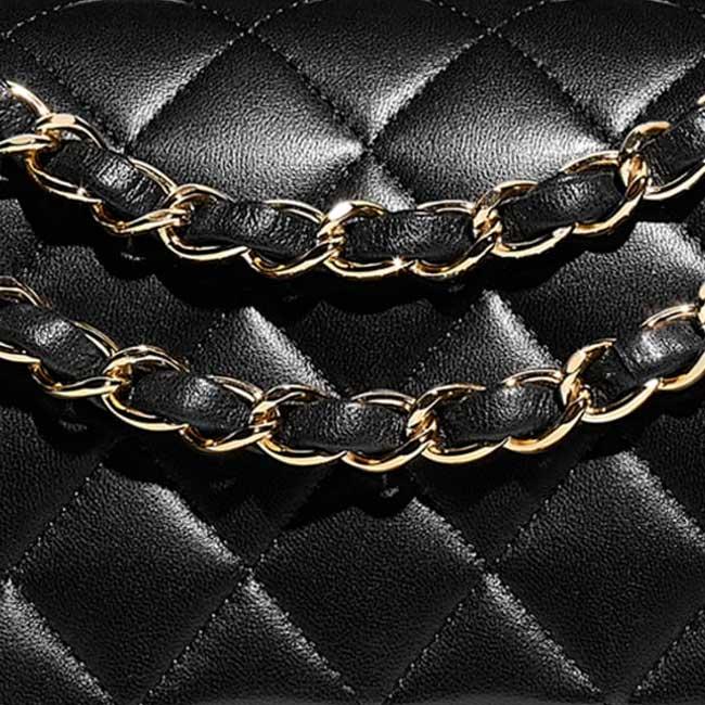 Dây đeo xích mạ vàng đan sợi da đặc trưng của dòng túi cổ điển