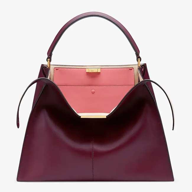 Túi Fendi Peekaboo X-lite Burgundy leather bag